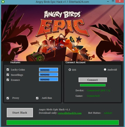 Angry Birds Epic Hack v1.1