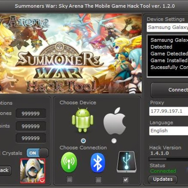 Summoners War Hack enerate unlimited amount of mana stones, glory points