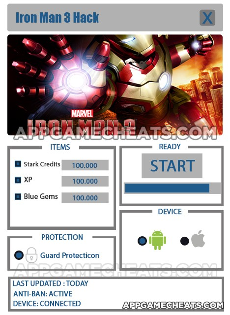 Iron Man 3 Hack for Stark Credits, Blue Gems & XP