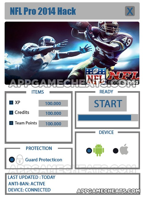 NFL Pro 2014 Hack for Credits, Team Points & XP