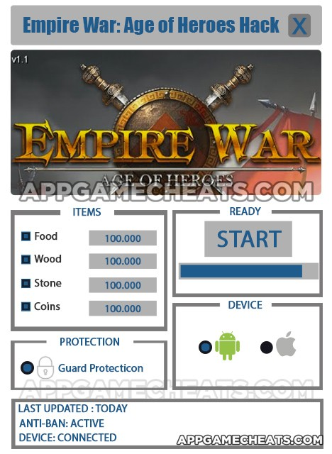 Empire War: Age of Heroes Hackfor Food, Wood, Stone, & Coins