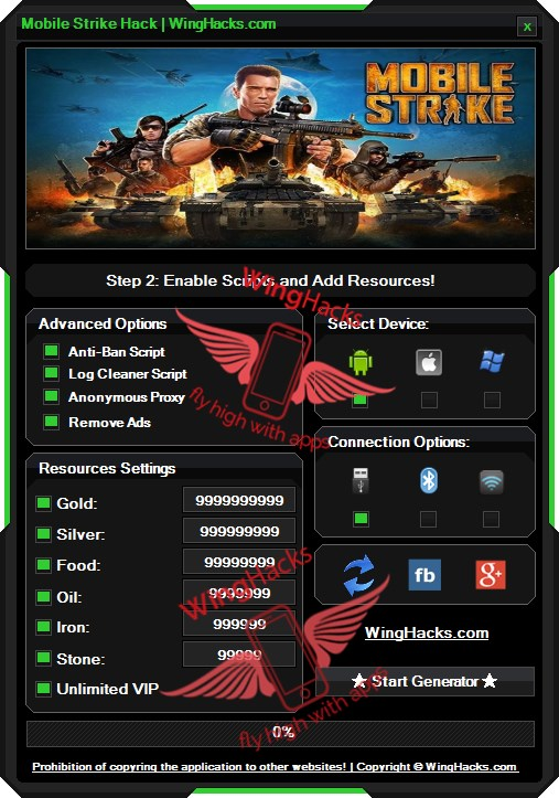Mobile Strike Hack Cheat Generator Gold VIP our new tool which is working on android and ios devices