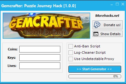 Gemcrafter Puzzle Journey Hack add unlimited amounts of Coins, Keys and Lives