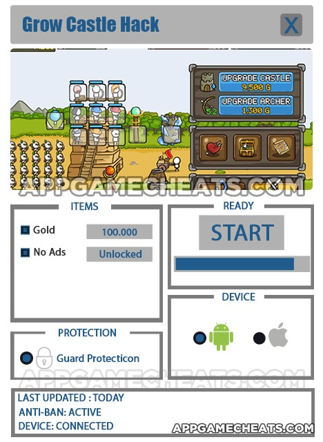 Grow Castle Hack for Gold and No Ads Unlock