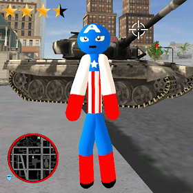 Stickman Capitaine american Rope Hero Gangster Ver. 1.4 MOD APK UNLIMITED GEMS UNLIMITED CASH