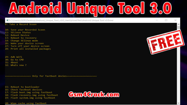 Android Unique Tool 3.0 For ADB Wireless, Fastboot & More